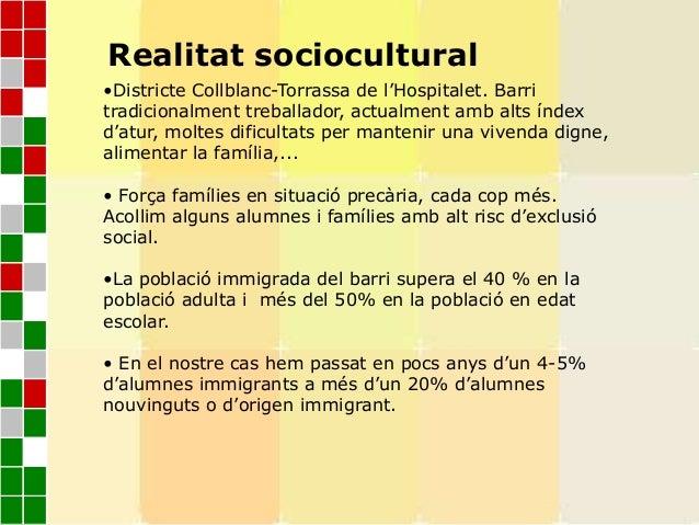 Realitat sociocultural•Districte Collblanc-Torrassa de l'Hospitalet. Barritradicionalment treballador, actualment amb alts...