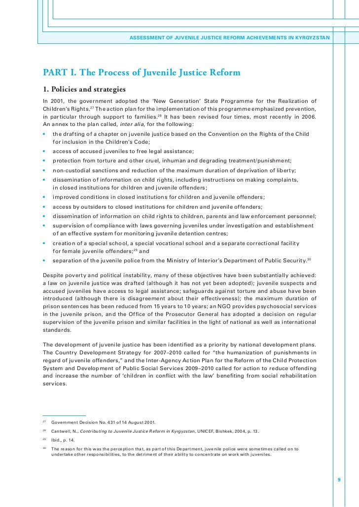 juvenile justice policy reform essay Improving the effectiveness of juvenile justice programs:  practical and policy considerations in implementing juvenile justice reform .