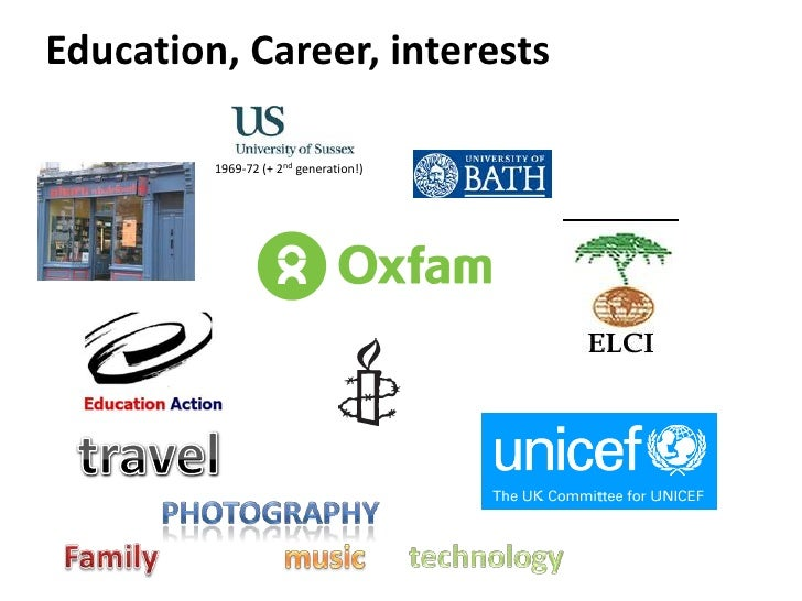 Education, Career, interests<br />1969-72 (+ 2nd generation!)<br />travel<br />photography<br />Family<br />music<br />tec...