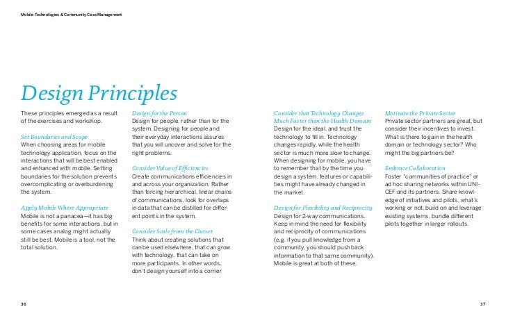 Mobile Technologies & Community Case ManagementDesign PrinciplesThese principles emerged as a result              Design f...