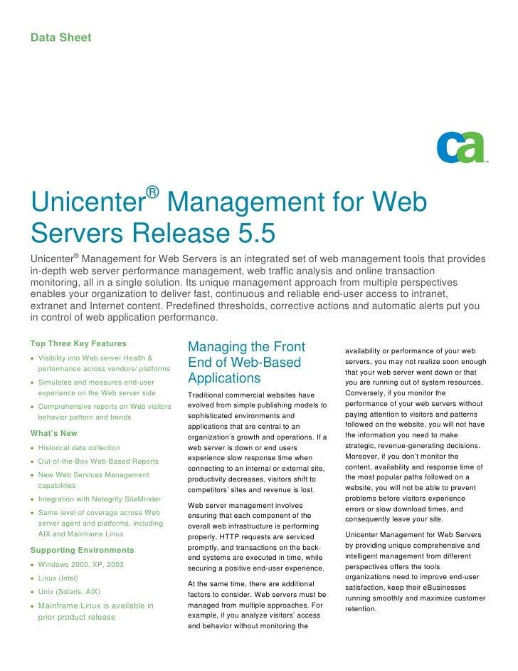 Data Sheet                                       ® Unicenter Management for Web Servers Release 5.5 Unicenter® Management ...