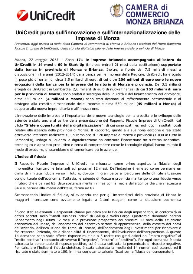 UniCredit punta sull'innovazione e sull'internazionalizzazione delleimprese di MonzaPresentati oggi presso la sede della C...