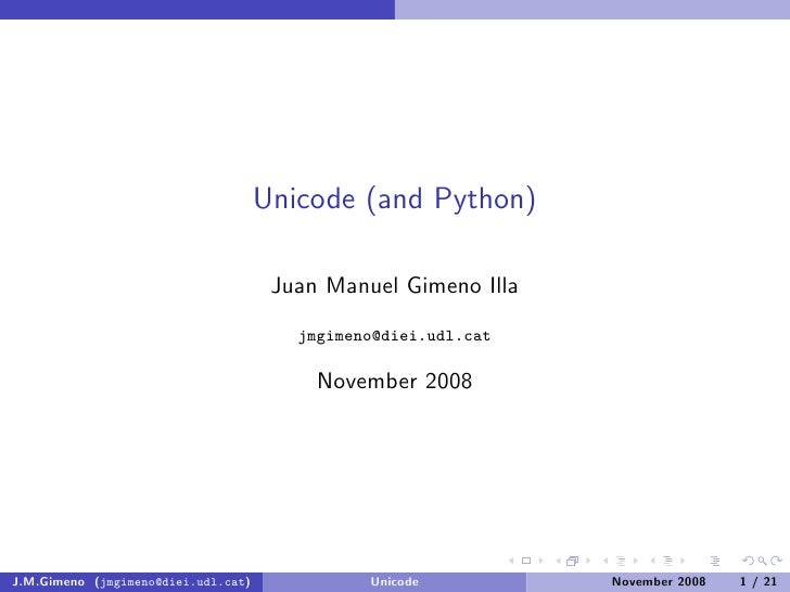 Unicode (and Python)