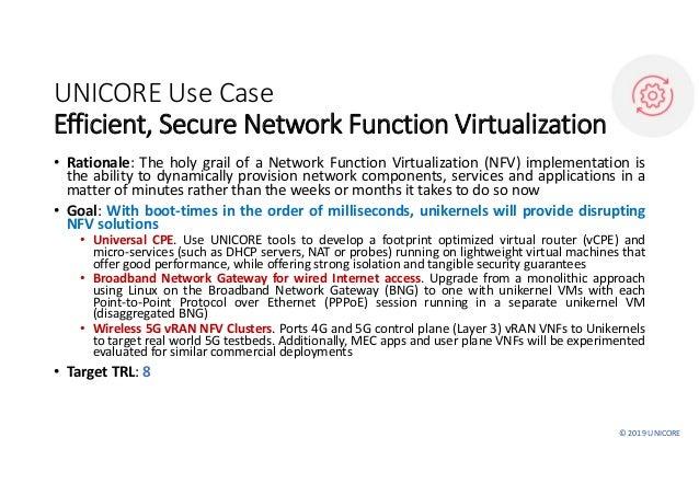 ©2019UNICORE UNICOREUseCase Efficient,SecureNetworkFunctionVirtualization • Rationale: The holy grail of a Network...