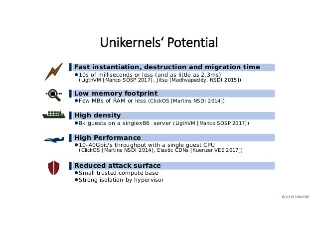 ©2019UNICORE Unikernels'Potential ▌Fast instantiation, destruction and migration time 10s of milliseconds or less (and...