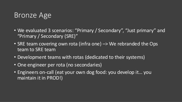 Bronze Age • We had more than twenty engineers on-call