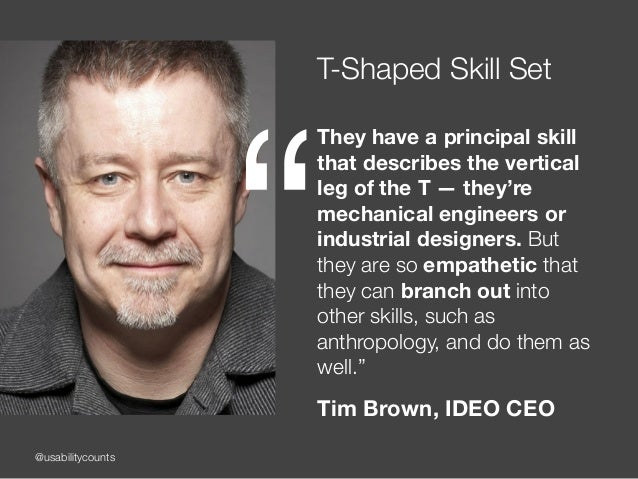 @usabilitycounts T-Shaped Skill Set They have a principal skill that describes the vertical leg of the T — they're mechani...