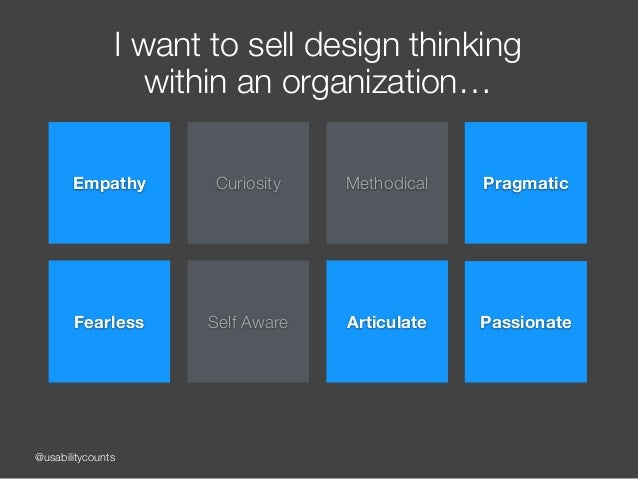 @usabilitycounts I want to sell design thinking within an organization… Empathy Curiosity Methodical Fearless Self Aware ...