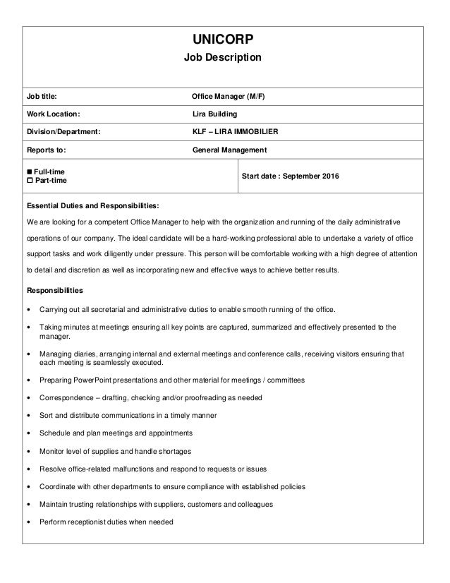 Unicorp job description office manager - Office administration executive job description ...