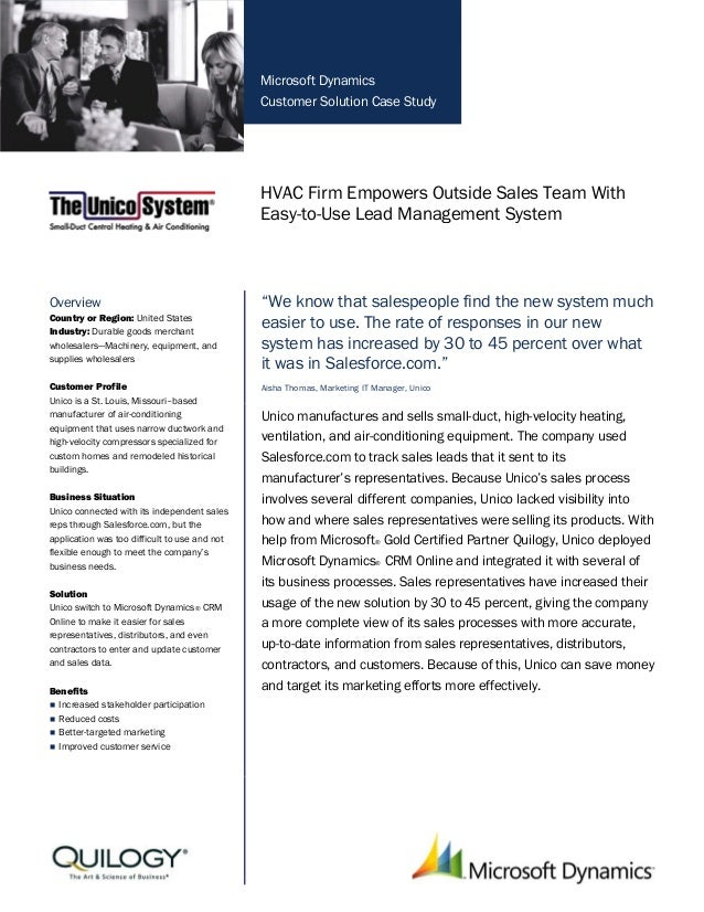 Microsoft Dynamics Customer Solution Case Study HVAC Firm Empowers Outside Sales Team With Easy-to-Use Lead Management Sys...
