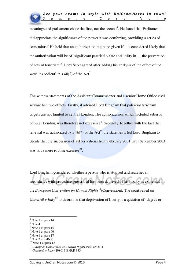 Uni cramnotes.com law case note sample