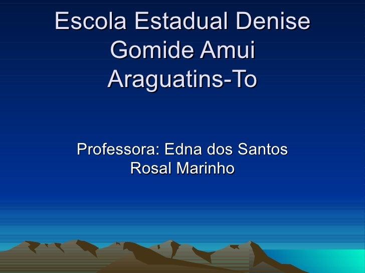 Escola Estadual Denise Gomide Amui Araguatins-To Professora: Edna dos Santos Rosal Marinho