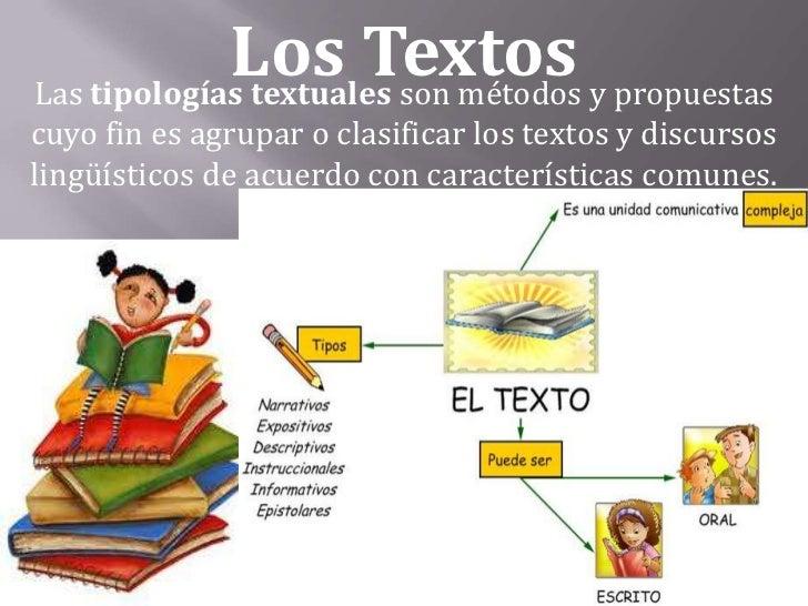 Los Textos y propuestasLas tipologías textuales son métodoscuyo fin es agrupar o clasificar los textos y discursoslingüíst...