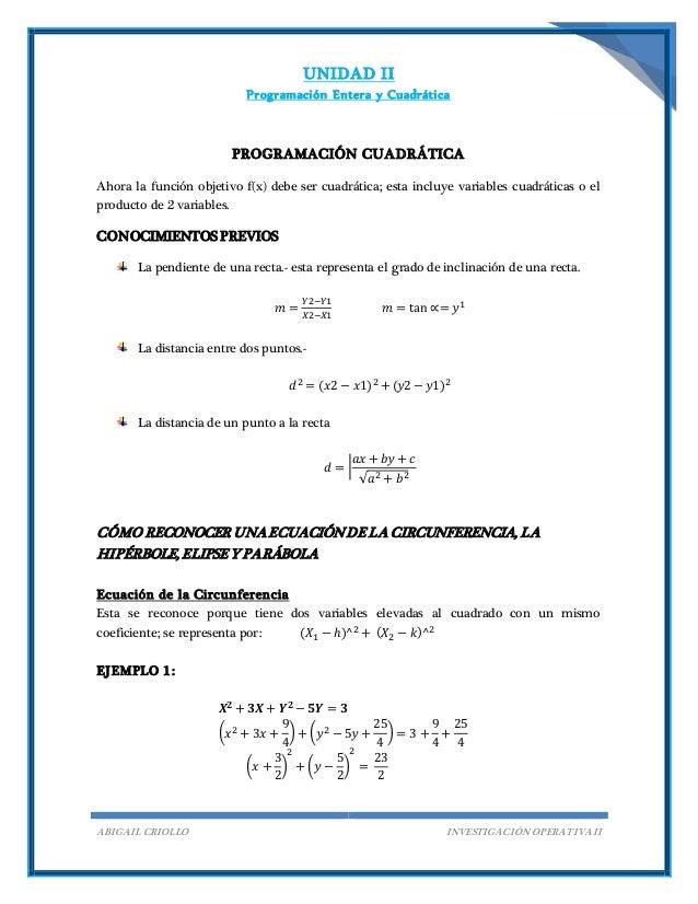 UNIDAD II Programación Entera y Cuadrática ABIGAIL CRIOLLO INVESTIGACIÓN OPERATIVA II PROGRAMACIÓN CUADRÁTICA Ahora la fun...