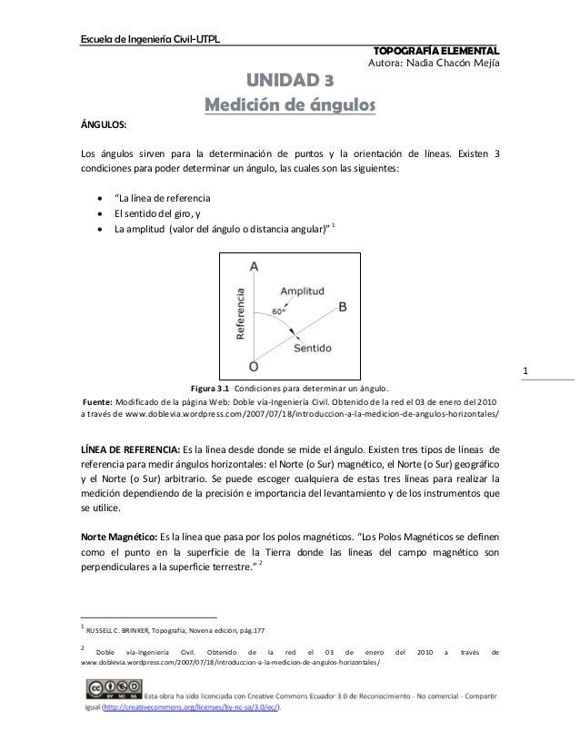 Escuela de Ingeniería Civil-UTPL  TOPOGRAFÍA ELEMENTAL Autora: Nadia Chacón Mejía  UNIDAD 3 Medición de ángulos ÁNGULOS: L...