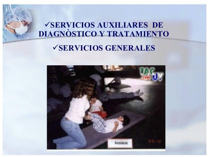 <ul><li>SERVICIOS AUXILIARES  DE DIAGNÒSTICO Y TRATAMIENTO </li></ul><ul><li>SERVICIOS GENERALES </li></ul>