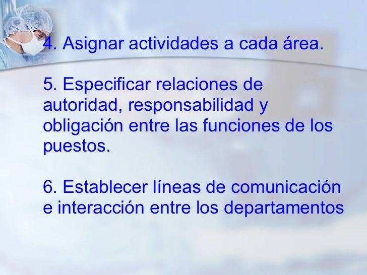 4. Asignar actividades a cada área. 5. Especificar relaciones de autoridad, responsabilidad y obligación entre las funcion...