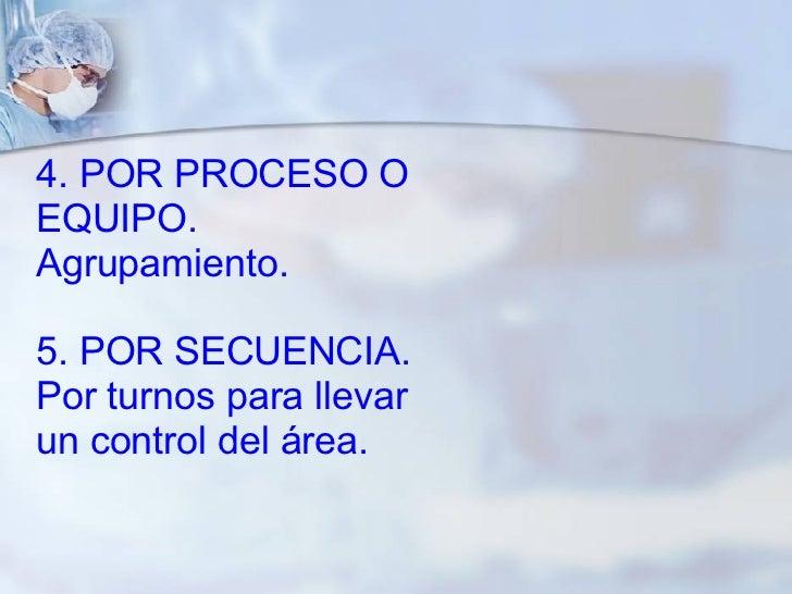4. POR PROCESO O EQUIPO. Agrupamiento. 5. POR SECUENCIA. Por turnos para llevar un control del área.