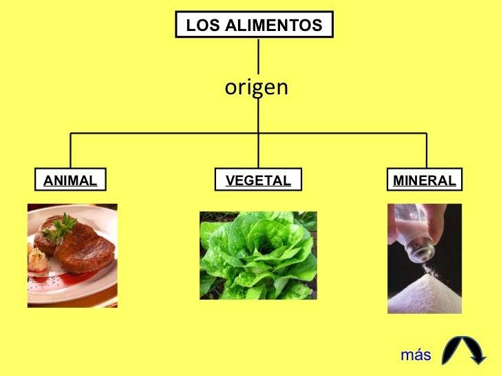 LOS ALIMENTOS origen ANIMAL VEGETAL MINERAL más