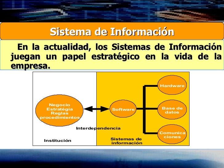 Sistema de Información En la actualidad, los Sistemas de Información juegan un papel estratégico en la vida de la empresa.