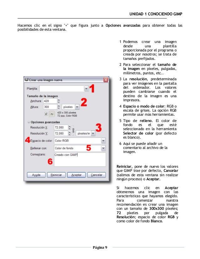 """UNIDAD 1 CONOCIENDO GIMPHacemos clic en el signo """"+"""" que figura junto a Opciones avanzadas para obtener todas lasposibilid..."""
