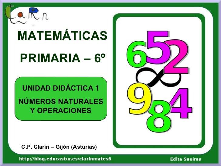 MATEMÁTICASPRIMARIA – 6ºUNIDAD DIDÁCTICA 1NÚMEROS NATURALES  Y OPERACIONESC.P. Clarín – Gijón (Asturias)