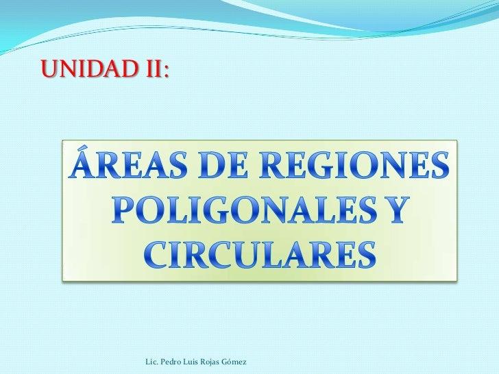 UNIDAD II:        Lic. Pedro Luis Rojas Gómez
