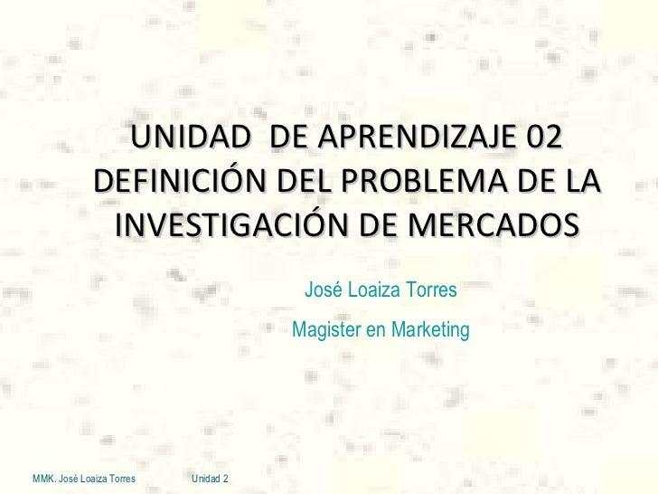 UNIDAD  DE APRENDIZAJE 02 DEFINICIÓN DEL PROBLEMA DE LA INVESTIGACIÓN DE MERCADOS MMK. José Loaiza Torres Unidad 2 José Lo...