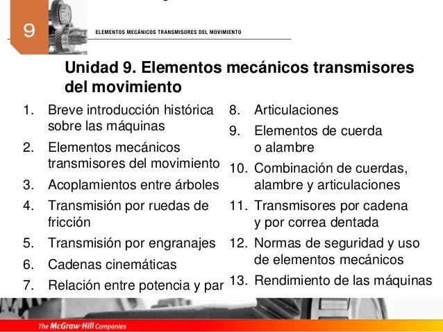 1. Breve introducción histórica sobre las máquinas 2. Elementos mecánicos transmisores del movimiento 3. Acoplamientos ent...