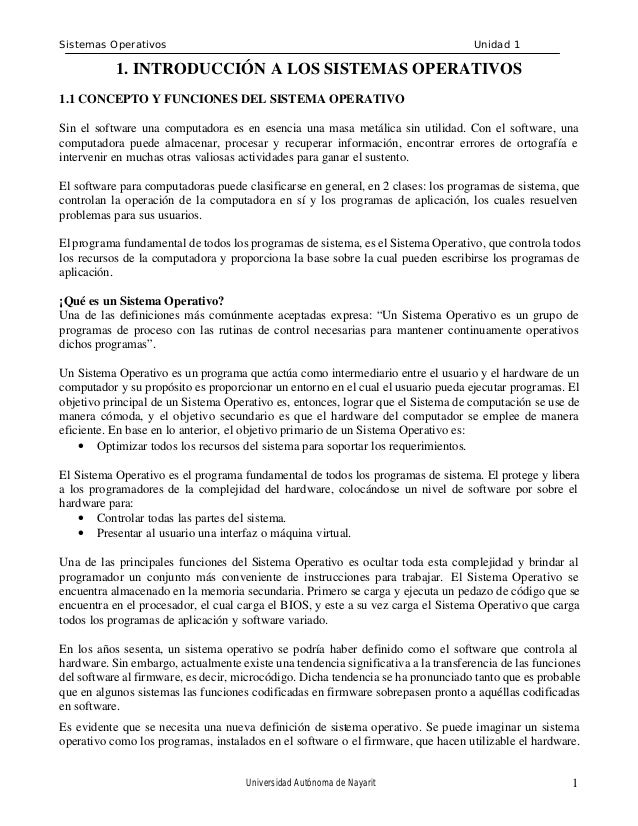 Sistemas Operativos                                                                Unidad 1           1. INTRODUCCIÓN A LO...