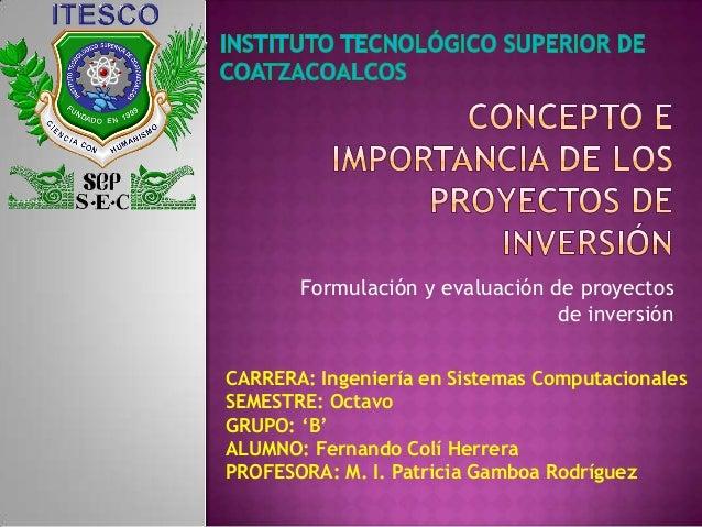 Formulación y evaluación de proyectos                                 de inversiónCARRERA: Ingeniería en Sistemas Computac...