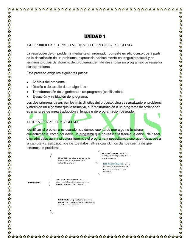 Unidad 11.-DESARROLLAR EL PROCESO DE SOLUCIÓN DE UN PROBLEMALa resolución de un problema mediante un ordenador consiste en...