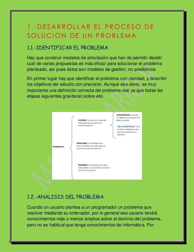 1 .-DE SAR ROLLAR E L PROCE SO DESOLUCI ON DE UN PROBLE MA.1.1.-IDENTIFICAR EL PROBLEMAHay que construir modelos de simula...