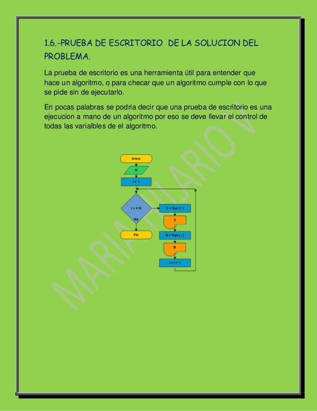 1.6.-PRUEBA DE ESCRITORIO DE LA SOLUCION DELPROBLEMA.La prueba de escritorio es una herramienta útil para entender quehace...