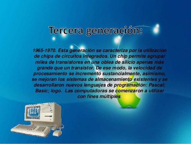 La denominada cuarta generacion (1971 entre otros) es elproducto de la microminiaturizacion de los circuitoselectronicos. ...