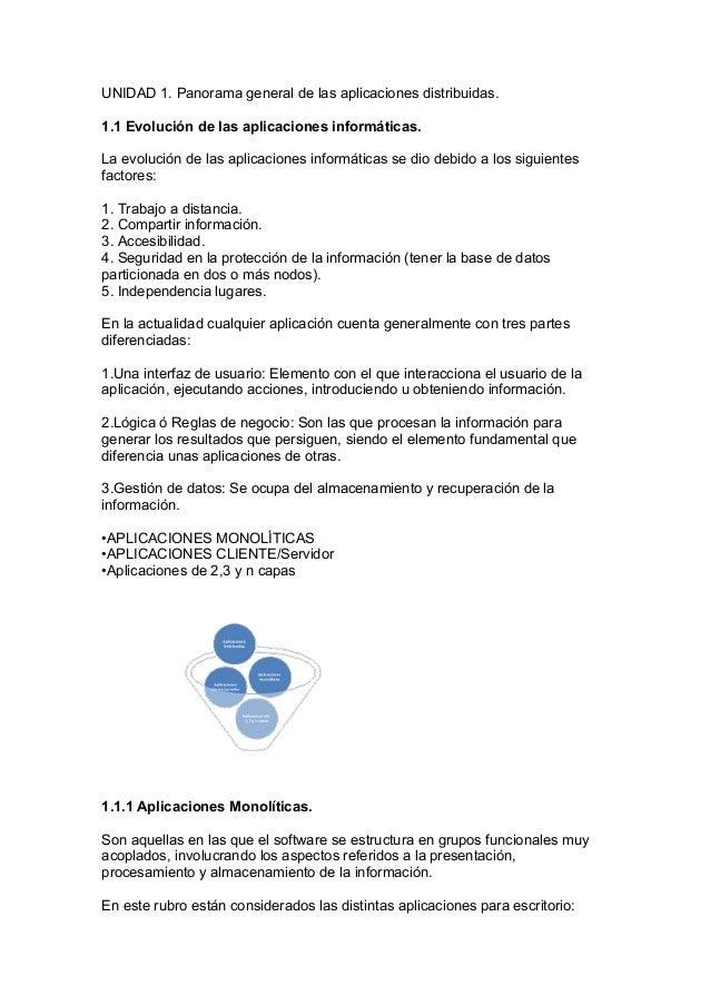 UNIDAD 1. Panorama general de las aplicaciones distribuidas.1.1 Evolución de las aplicaciones informáticas.La evolución de...