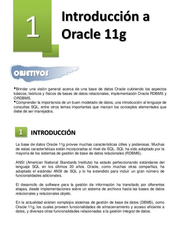 1 Introducción a Oracle 11g OBJETIVOS •Brindar una visión general acerca de una base de datos Oracle cubriendo los aspecto...