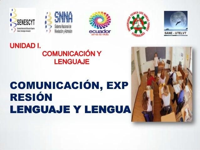 UNIDAD I.  COMUNICACIÓN Y LENGUAJE  COMUNICACIÓN, EXP RESIÓN LENGUAJE Y LENGUA
