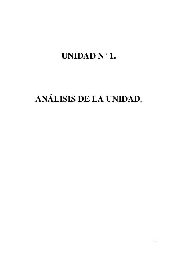 UNIDAD N° 1.  ANÁLISIS DE LA UNIDAD.  1