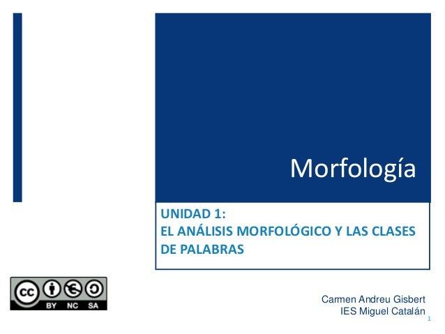Morfología UNIDAD 1: EL ANÁLISIS MORFOLÓGICO Y LAS CLASES DE PALABRAS Carmen Andreu Gisbert IES Miguel Catalán 1