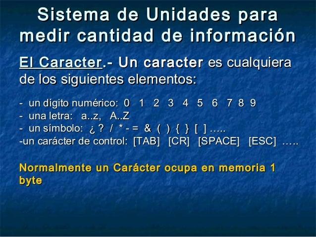 Sistema de Unidades paraSistema de Unidades para medir cantidad de informaciónmedir cantidad de información El CaracterEl ...