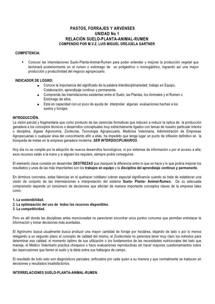 PASTOS, FORRAJES Y ARVENSES<br />UNIDAD No 1<br />RELACIÓN SUELO-PLANTA-ANIMAL-RUMEN<br />COMPENDIO POR M.V.Z. LUIS MIGUEL...
