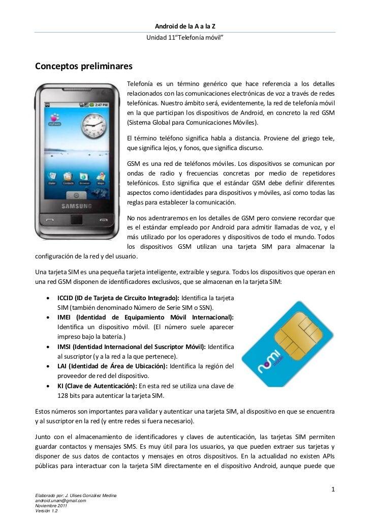 """Android de la A a la Z                                                  Unidad 11""""Telefonía móvil""""Conceptos preliminares  ..."""