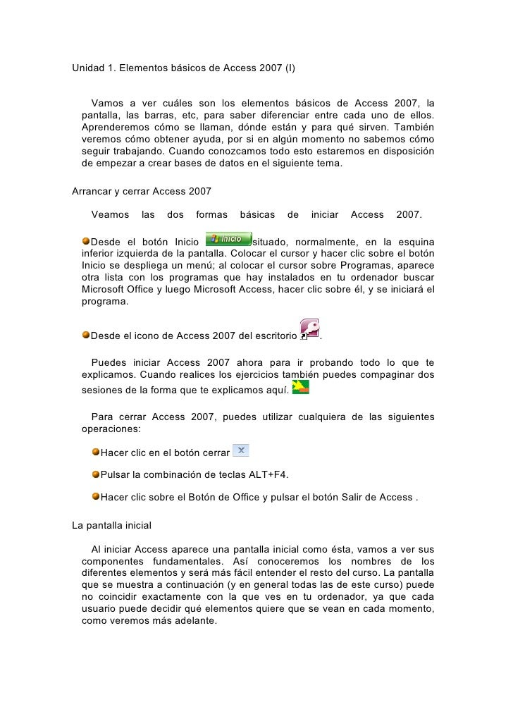 Unidad 1. Elementos básicos de Access 2007 (I)       Vamos a ver cuáles son los elementos básicos de Access 2007, la   pan...