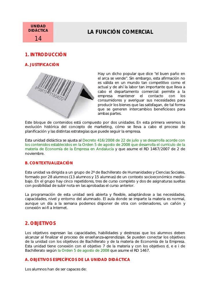 Unidad 14 - la función comercial Economía Empresa 2º BTO