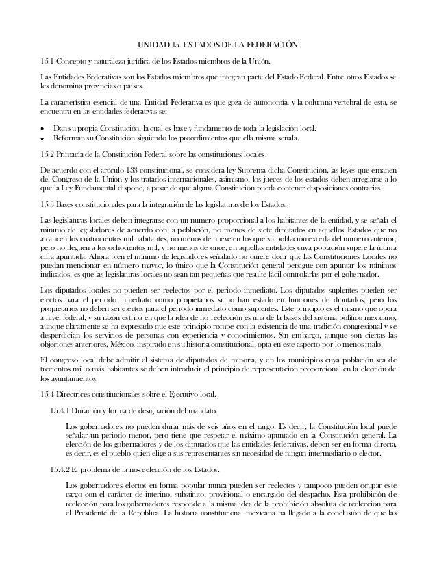 UNIDAD 15. ESTADOS DE LA FEDERACIÓN.15.1 Concepto y naturaleza jurídica de los Estados miembros de la Unión.Las Entidades ...