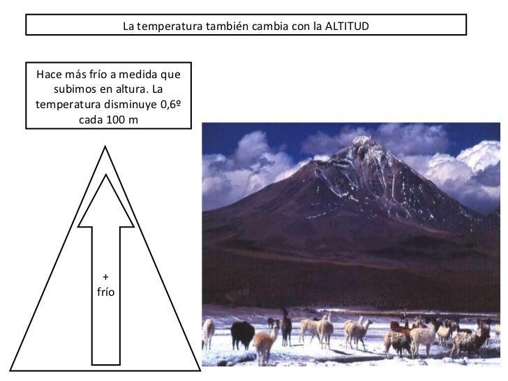 La temperatura tambi én cambia con la ALTITUD Hace m ás frío a medida que subimos en altura. La temperatura disminuye 0,6º...