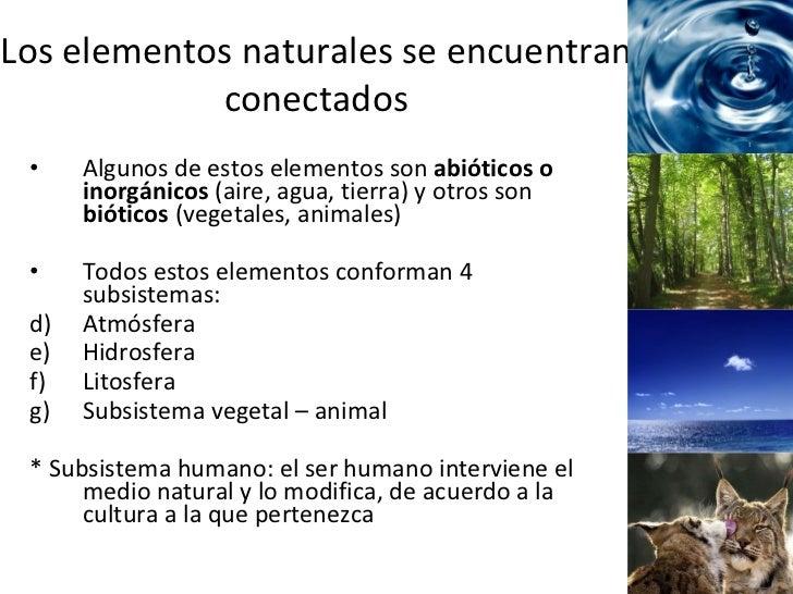 Los elementos naturales se encuentran conectados <ul><li>Algunos de estos elementos son  abióticos o inorgánicos  (aire, a...