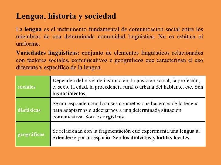 Lengua, historia y sociedad La  lengua  es el instrumento fundamental de comunicación social entre los miembros de una det...