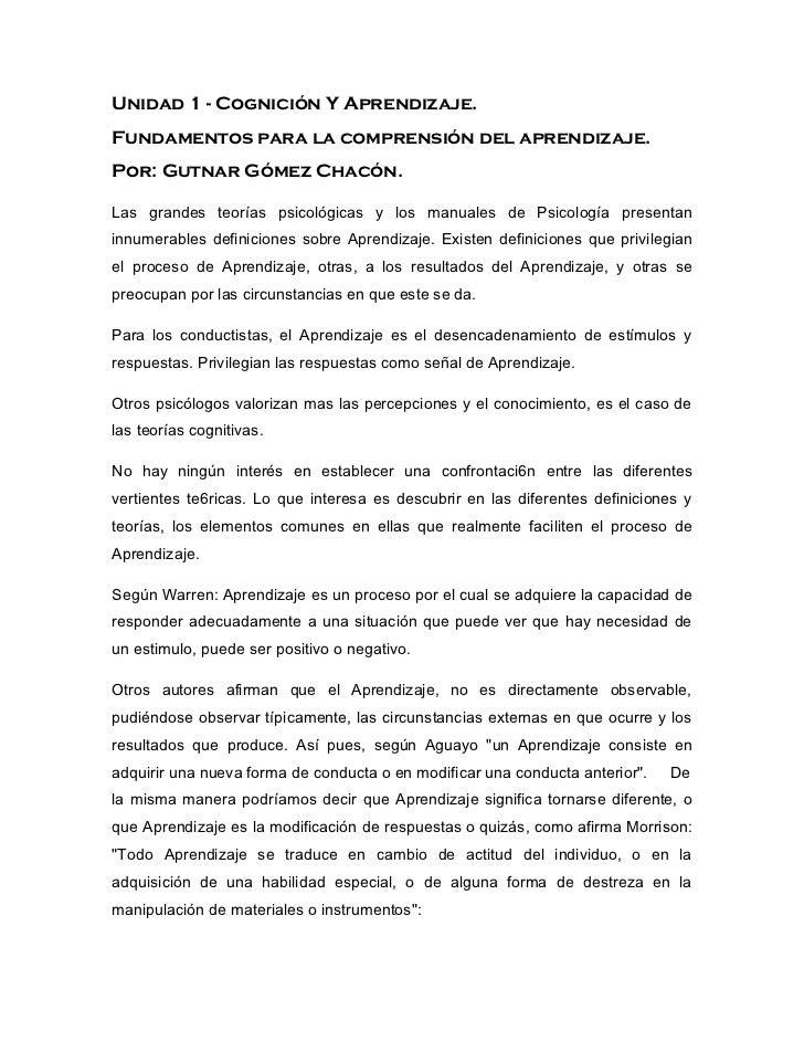 Unidad 1 - Cognición Y Aprendizaje. Fundamentos para la comprensión del aprendizaje. Por: Gutnar Gómez Chacón.  Las grande...